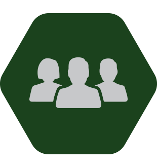 Green hexagon with figure of three people in white.